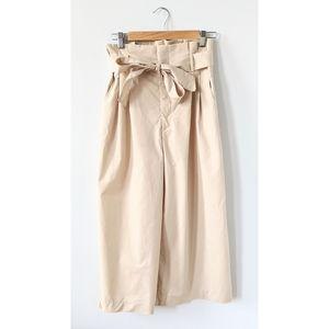 Zara Wide Leg High Waist Paper Bag Trouser Pants